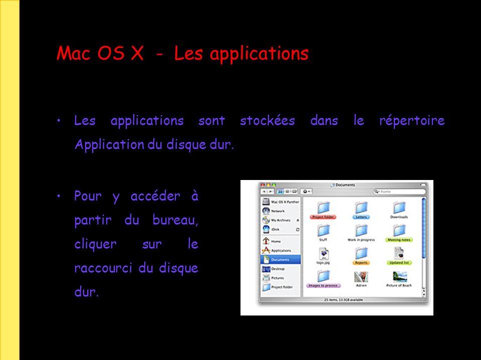 Mac OS X - Les applications Les applications sont stockées dans le répertoire Application du disque dur. Pour y accéder à partir du bureau, cliquer su