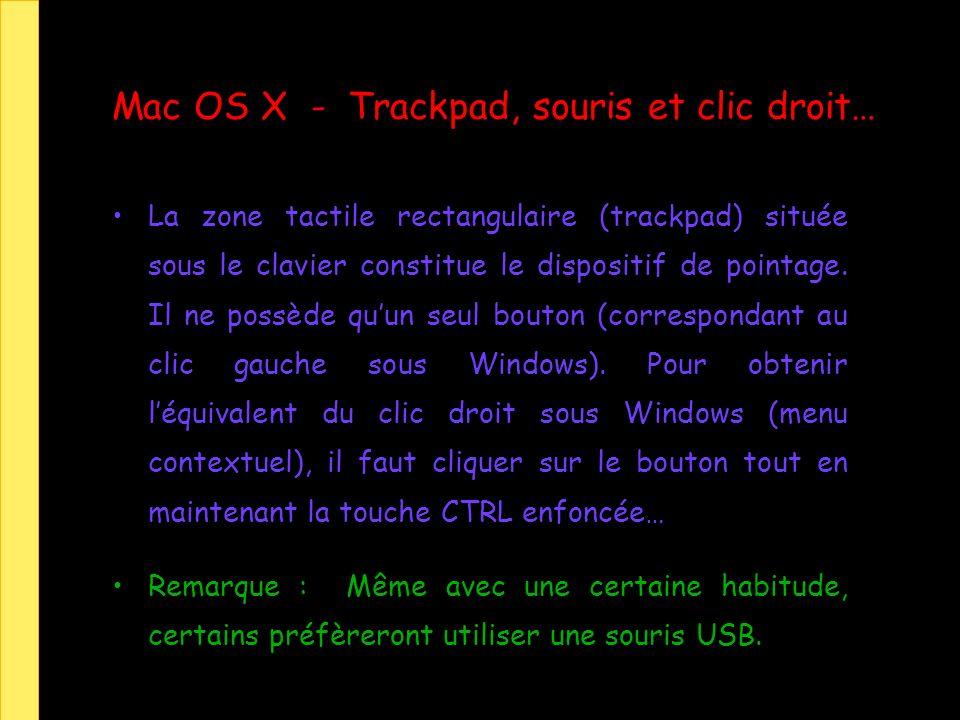 Mac OS X - Trackpad, souris et clic droit… La zone tactile rectangulaire (trackpad) située sous le clavier constitue le dispositif de pointage. Il ne