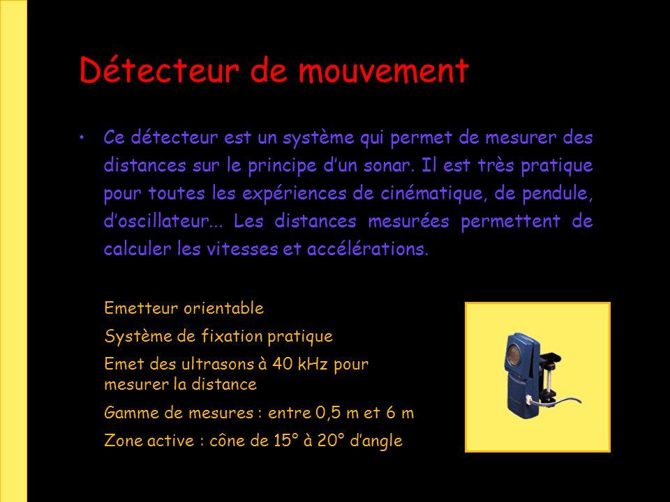 Ce détecteur est un système qui permet de mesurer des distances sur le principe dun sonar. Il est très pratique pour toutes les expériences de cinémat