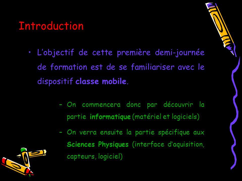 Introduction Lobjectif de cette première demi-journée de formation est de se familiariser avec le dispositif classe mobile. –On commencera donc par dé