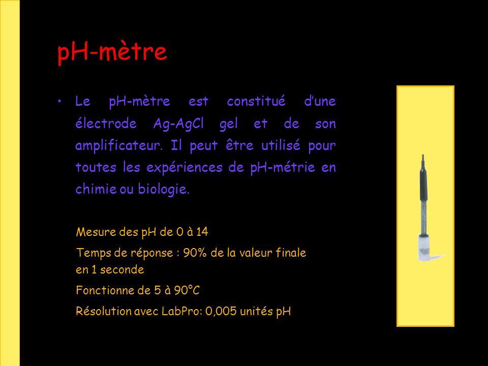 pH-mètre Le pH-mètre est constitué dune électrode Ag-AgCl gel et de son amplificateur.