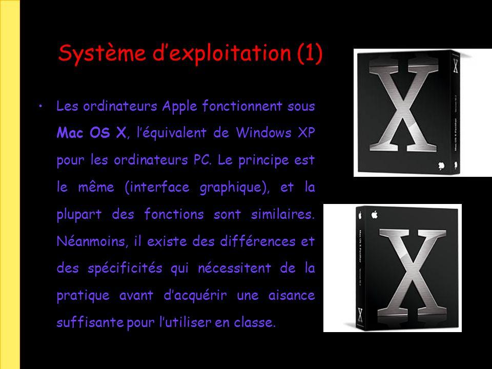 Système dexploitation (1) Les ordinateurs Apple fonctionnent sous Mac OS X, léquivalent de Windows XP pour les ordinateurs PC. Le principe est le même