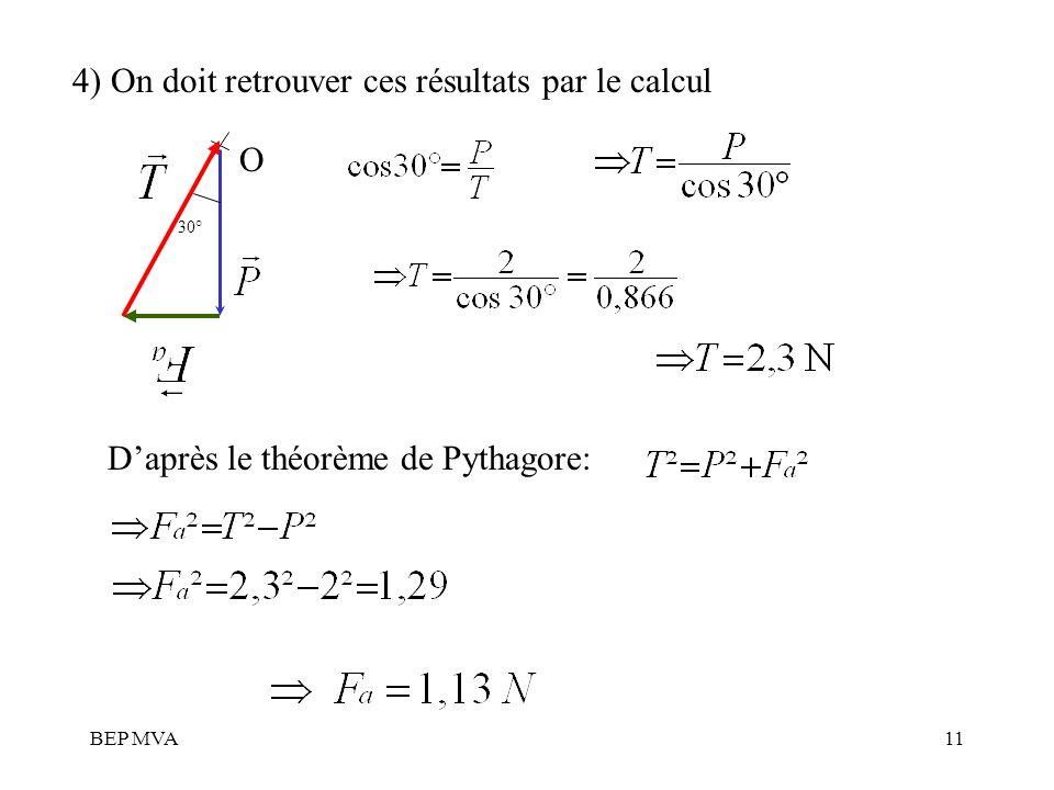 BEP MVA11 4) On doit retrouver ces résultats par le calcul O 30° Daprès le théorème de Pythagore: