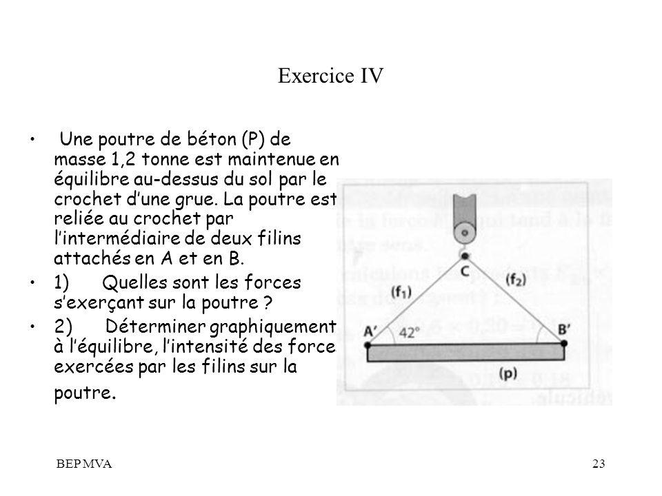 BEP MVA23 Exercice IV Une poutre de béton (P) de masse 1,2 tonne est maintenue en équilibre au-dessus du sol par le crochet dune grue. La poutre est r
