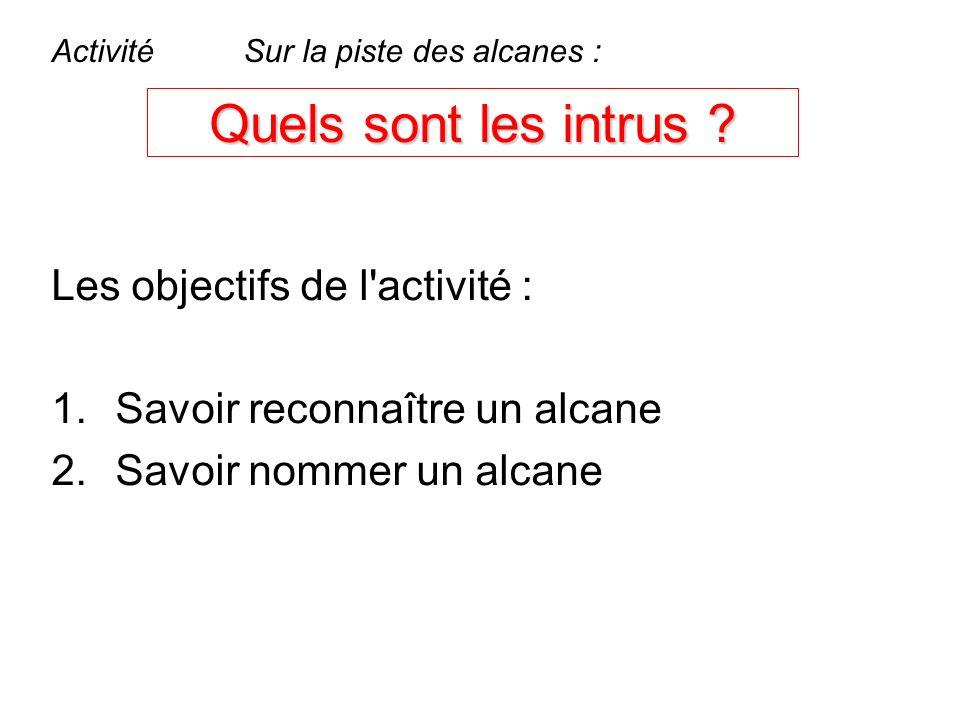 Quels sont les intrus ? Les objectifs de l'activité : 1.Savoir reconnaître un alcane 2.Savoir nommer un alcane ActivitéSur la piste des alcanes :
