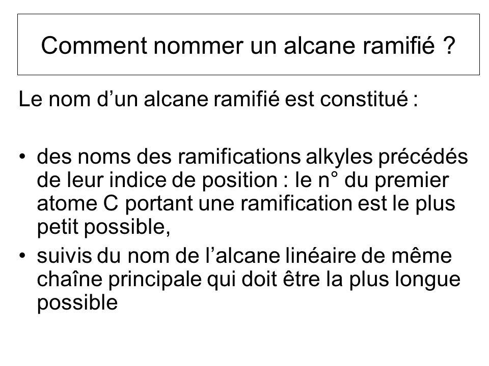 Comment nommer un alcane ramifié ? Le nom dun alcane ramifié est constitué : des noms des ramifications alkyles précédés de leur indice de position :