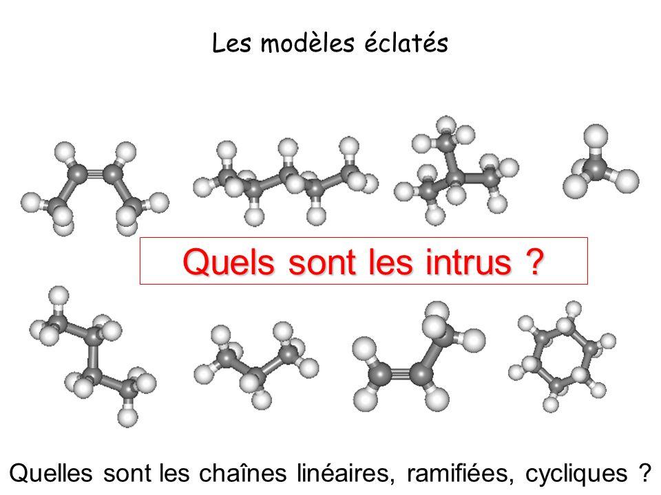 La plupart des molécules représentées ci dessus appartiennent à la famille des alcanes, les autres étant des intrus.