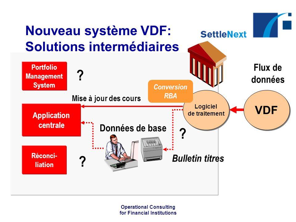 Operational Consulting for Financial Institutions Nouveau système VDF: Solutions intermédiaires Application centrale Logiciel de traitement Mise à jour des cours Portfolio Management System .