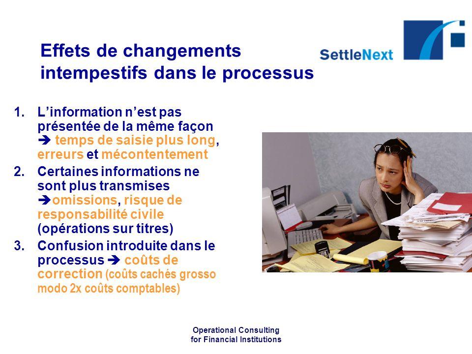 Operational Consulting for Financial Institutions Effets de changements intempestifs dans le processus 1.Linformation nest pas présentée de la même fa