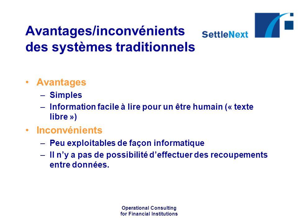 Operational Consulting for Financial Institutions Avantages/inconvénients des systèmes traditionnels Avantages –Simples –Information facile à lire pou