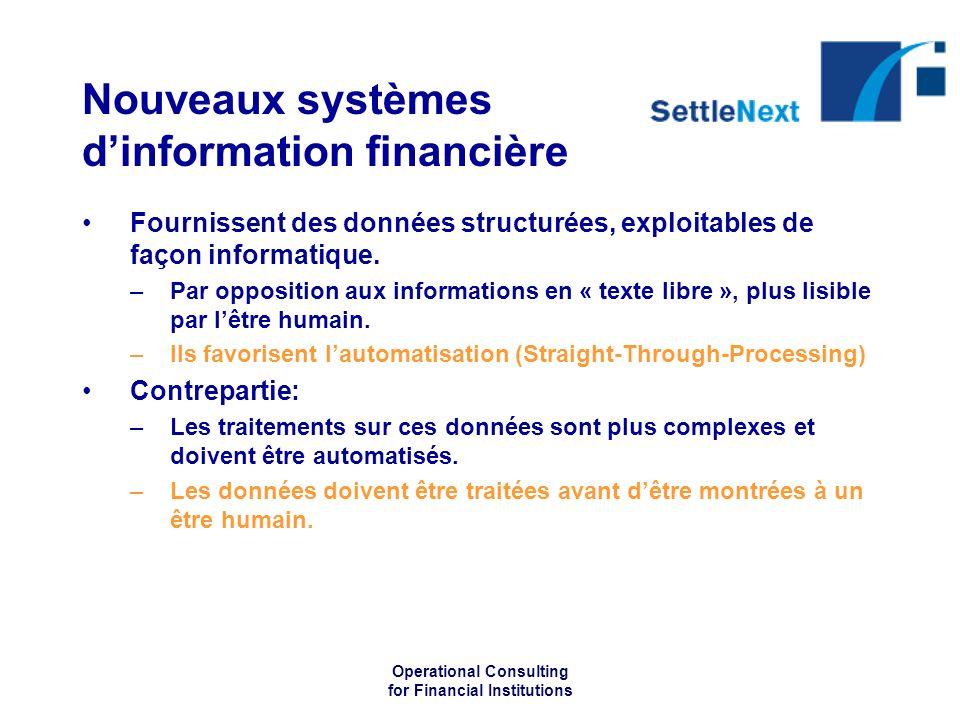 Operational Consulting for Financial Institutions Nouveaux systèmes dinformation financière Fournissent des données structurées, exploitables de façon