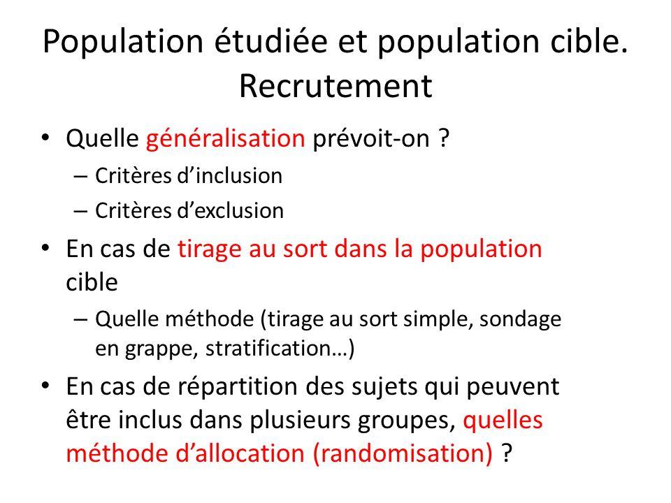 Population étudiée et population cible. Recrutement Quelle généralisation prévoit-on ? – Critères dinclusion – Critères dexclusion En cas de tirage au