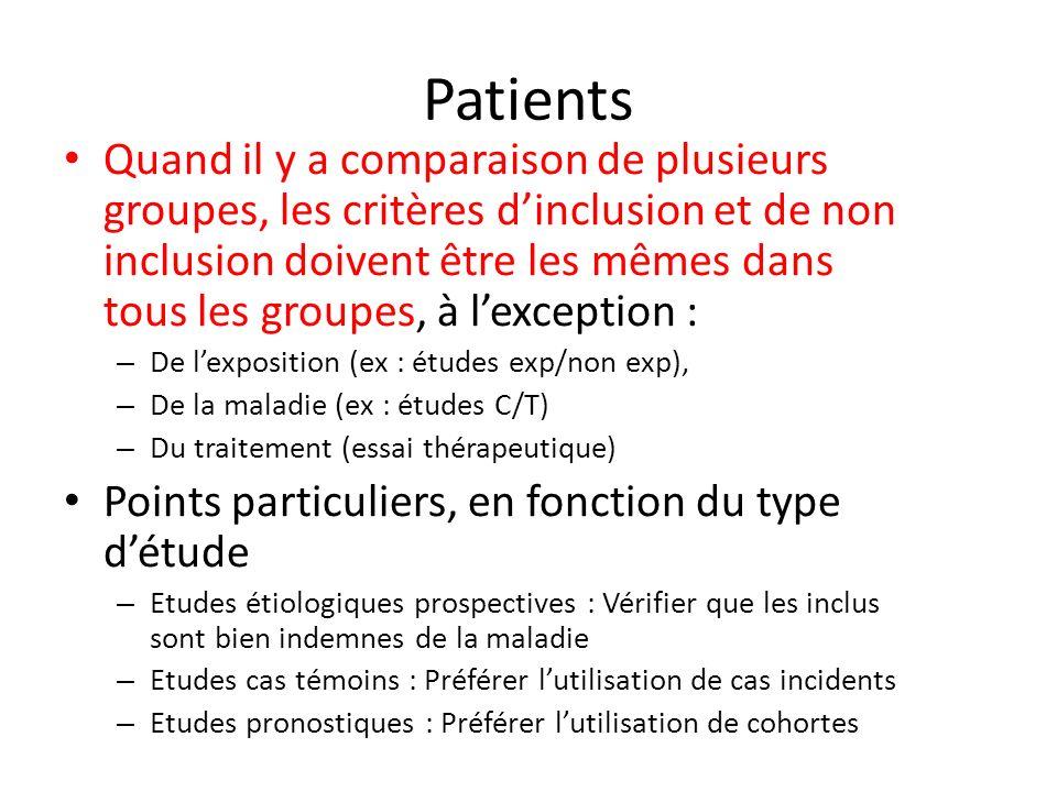 Patients Quand il y a comparaison de plusieurs groupes, les critères dinclusion et de non inclusion doivent être les mêmes dans tous les groupes, à le