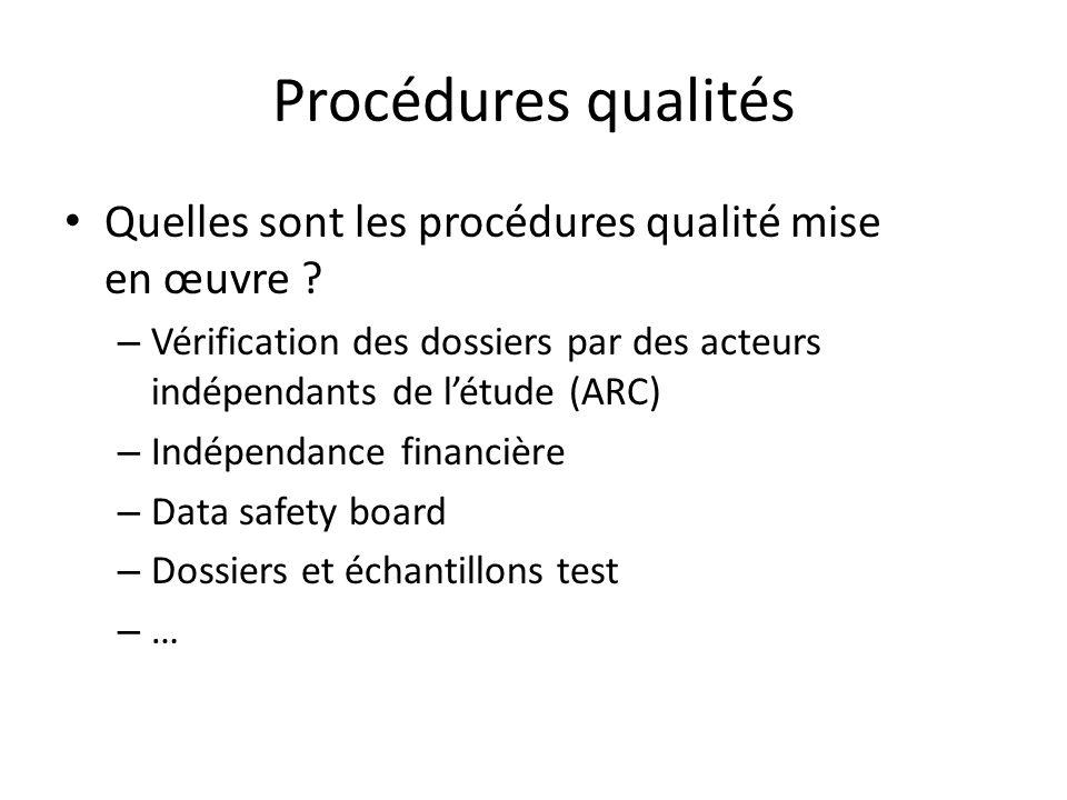 Procédures qualités Quelles sont les procédures qualité mise en œuvre ? – Vérification des dossiers par des acteurs indépendants de létude (ARC) – Ind