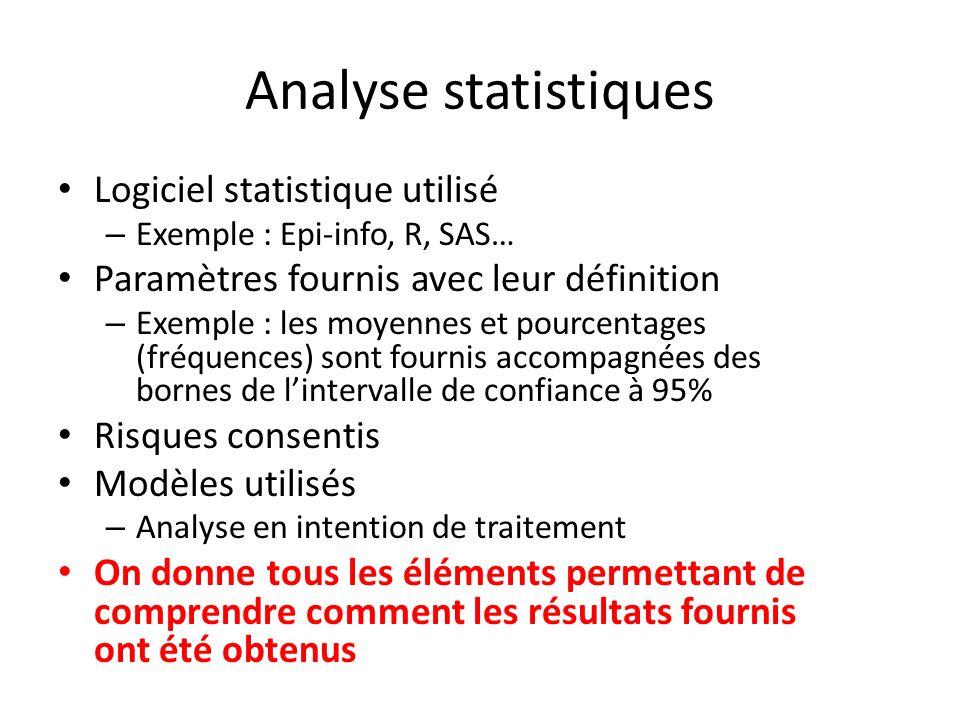 Analyse statistiques Logiciel statistique utilisé – Exemple : Epi-info, R, SAS… Paramètres fournis avec leur définition – Exemple : les moyennes et po