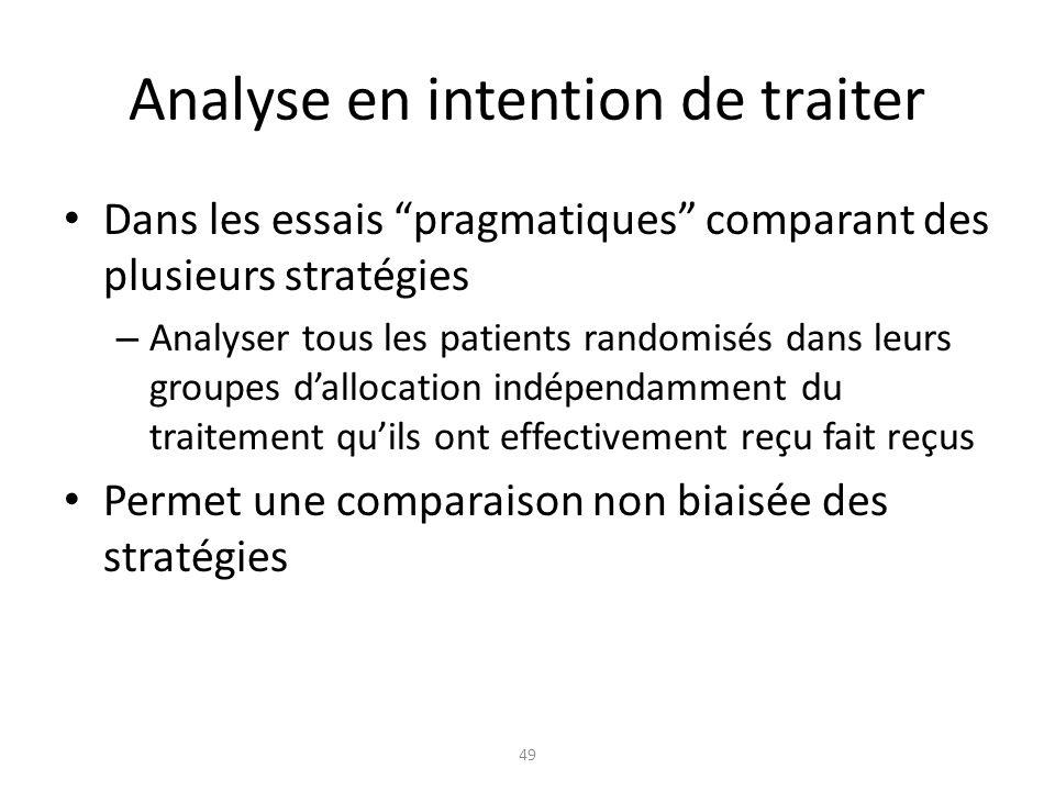 Analyse en intention de traiter Dans les essais pragmatiques comparant des plusieurs stratégies – Analyser tous les patients randomisés dans leurs gro
