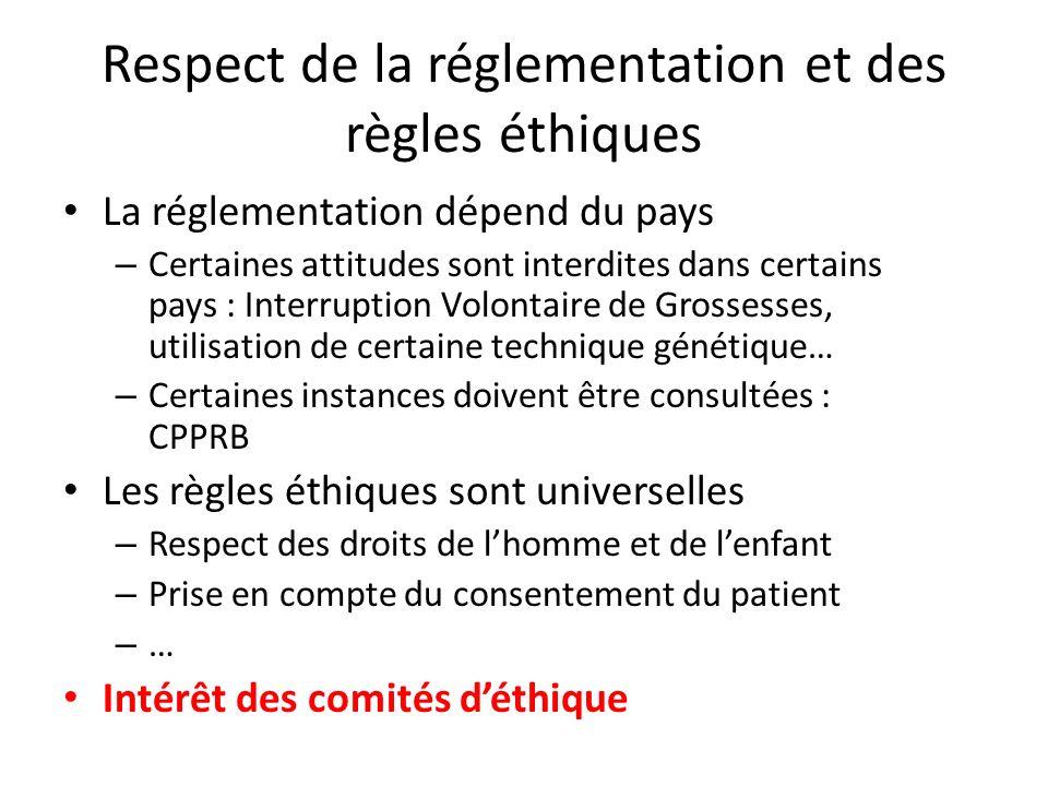 Respect de la réglementation et des règles éthiques La réglementation dépend du pays – Certaines attitudes sont interdites dans certains pays : Interr