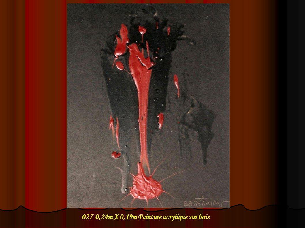 027 0,24m X 0,19m Peinture acrylique sur bois
