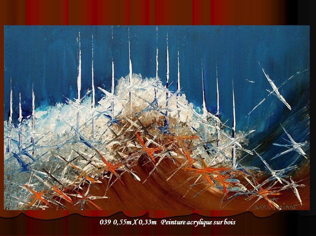 039 0,55m X 0,33m Peinture acrylique sur bois