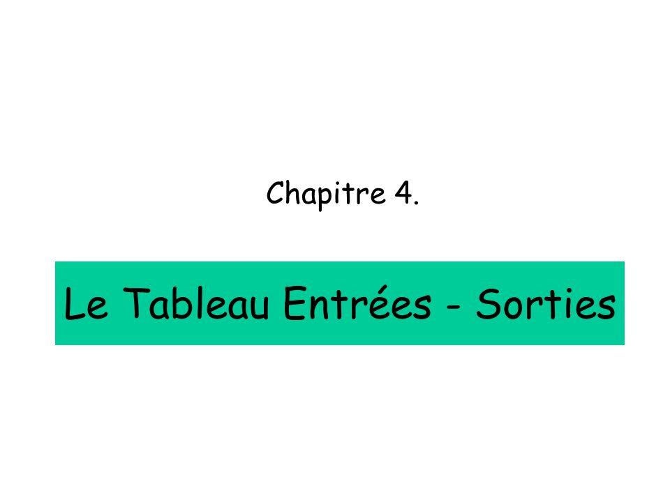 Le Tableau Entrées - Sorties Chapitre 4.