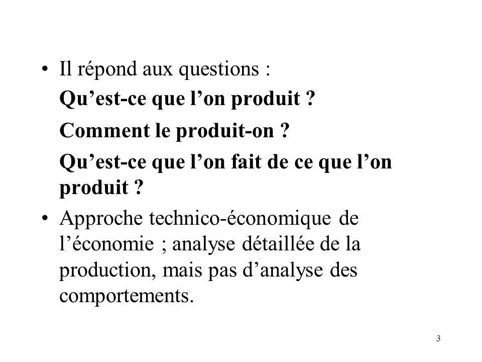 3 Il répond aux questions : Quest-ce que lon produit ? Comment le produit-on ? Quest-ce que lon fait de ce que lon produit ? Approche technico-économi