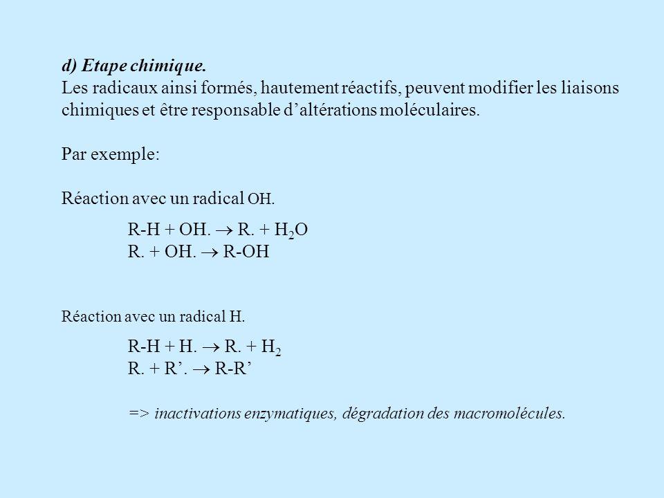 d) Etape chimique. Les radicaux ainsi formés, hautement réactifs, peuvent modifier les liaisons chimiques et être responsable daltérations moléculaire