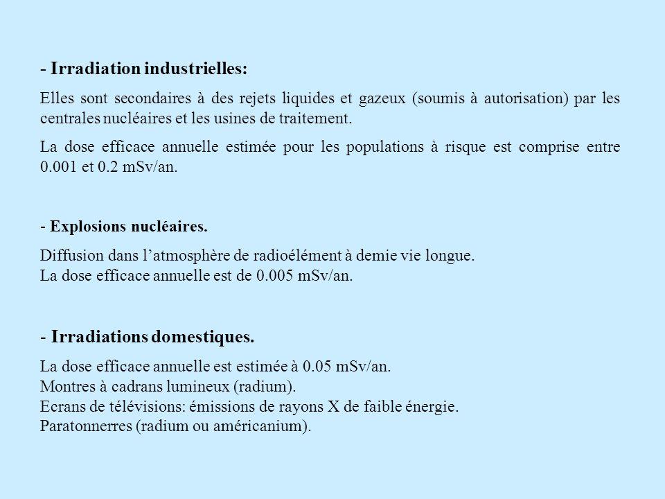 - Irradiation industrielles: Elles sont secondaires à des rejets liquides et gazeux (soumis à autorisation) par les centrales nucléaires et les usines
