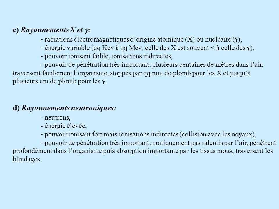 c) Rayonnements X et : - radiations électromagnétiques dorigine atomique (X) ou nucléaire ( ), - énergie variable (qq Kev à qq Mev, celle des X est so