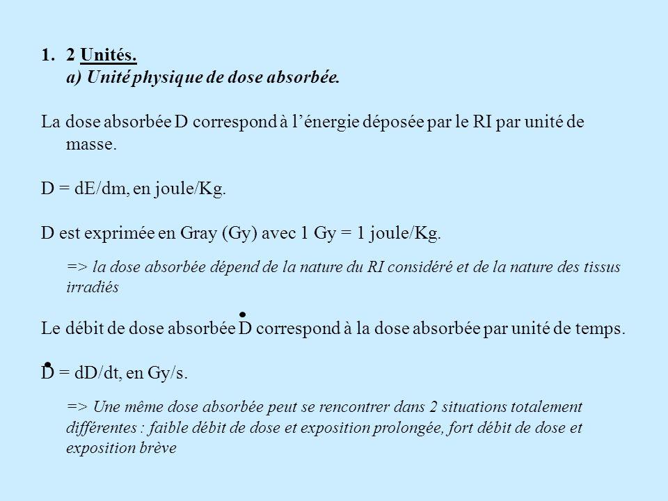 1.2 Unités. a) Unité physique de dose absorbée. La dose absorbée D correspond à lénergie déposée par le RI par unité de masse. D = dE/dm, en joule/Kg.