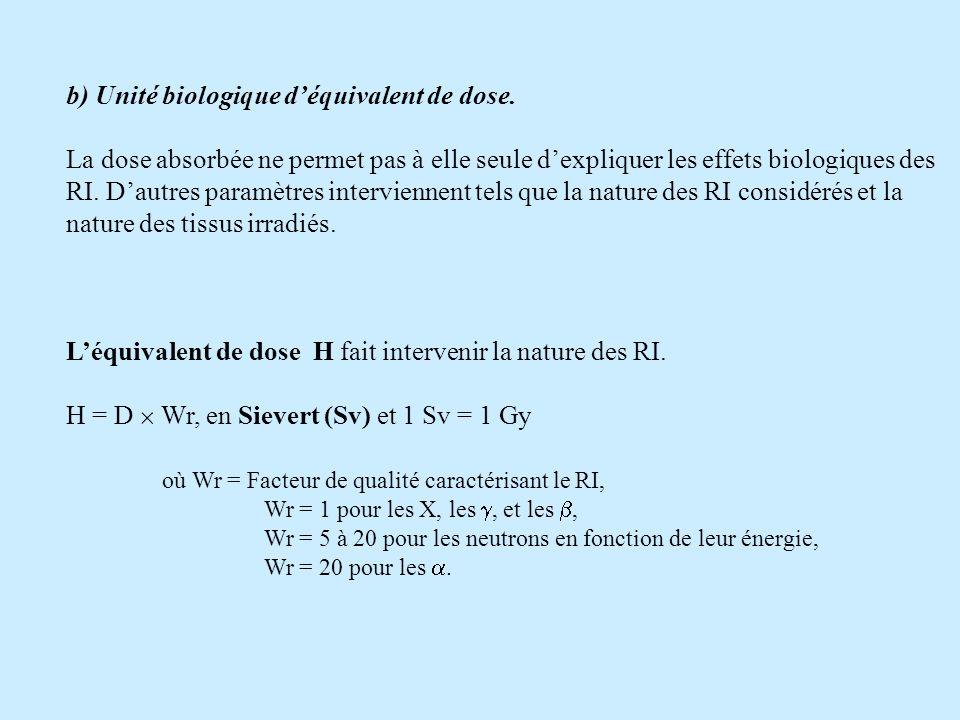 b) Unité biologique déquivalent de dose. La dose absorbée ne permet pas à elle seule dexpliquer les effets biologiques des RI. Dautres paramètres inte