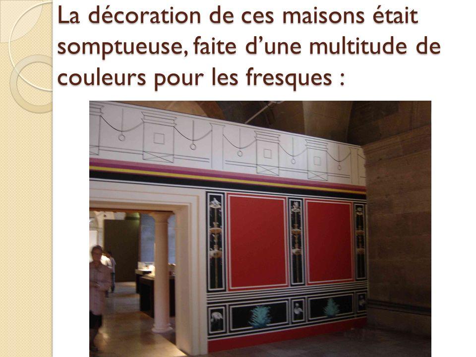 La décoration de ces maisons était somptueuse, faite dune multitude de couleurs pour les fresques :
