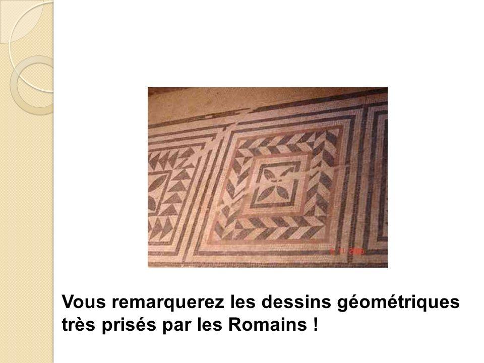 Vous remarquerez les dessins géométriques très prisés par les Romains !