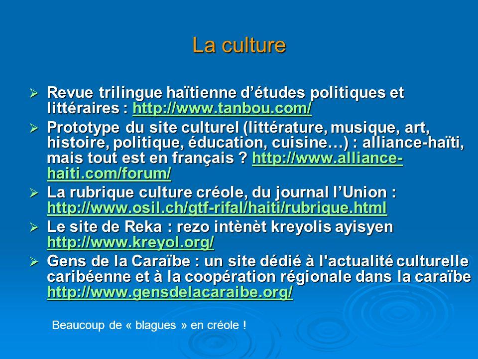 La culture Revue trilingue haïtienne détudes politiques et littéraires : http://www.tanbou.com/ Revue trilingue haïtienne détudes politiques et littéraires : http://www.tanbou.com/http://www.tanbou.com/ Prototype du site culturel (littérature, musique, art, histoire, politique, éducation, cuisine…) : alliance-haïti, mais tout est en français .