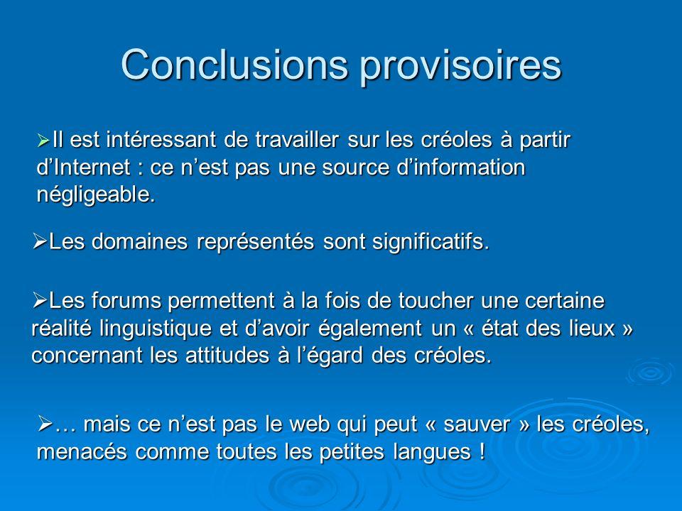 Conclusions provisoires Les domaines représentés sont significatifs.