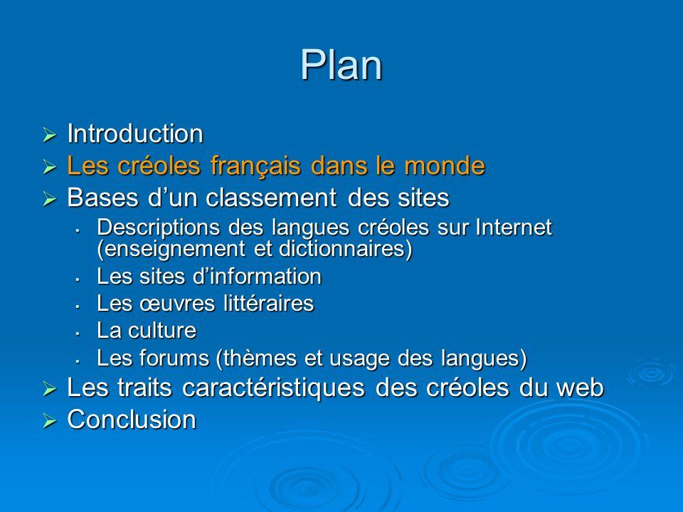 A signaler encore Le site de Chelaire : http://chelaire.free.fr/ (très peu de choses)http://chelaire.free.fr/ Pour le créole réunionnais, on a principalement le dictionnaire de créole de Saint-Omer : http://www.creole.org/dictionnaire_creole.htm Mais aussi une grammaire très mal formulée: http://www.ac- reunion.fr/pedagogie/clgLaSaline/Disciplines/Creole/gramcreole.htm Une citation : « Il y a trois articles définis : le, la et les, mais ils sont rarement utilisés devant le nom, Zotte y rôde guêpe (ils cherchent des guêpes) Moin la parti bazar (je suis allé au marché) C est surtout l article le qui est employé aussi bien pour le pluriel que pour le singulier, Dan soleil le zyé i brile (le soleil brûle les yeux) » On trouve aussi sur ce site un « Petit lexique créole- français » (fait daprès Albany ou J.