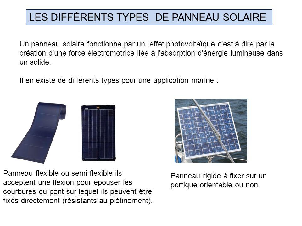 LES DIFFÉRENTS TYPES DE PANNEAU SOLAIRE Un panneau solaire fonctionne par un effet photovoltaïque c'est à dire par la création d'une force électromotr