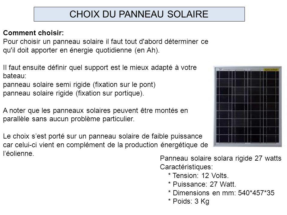 Panneau solaire solara rigide 27 watts Caractéristiques: * Tension: 12 Volts. * Puissance: 27 Watt. * Dimensions en mm: 540*457*35 * Poids: 3 Kg CHOIX