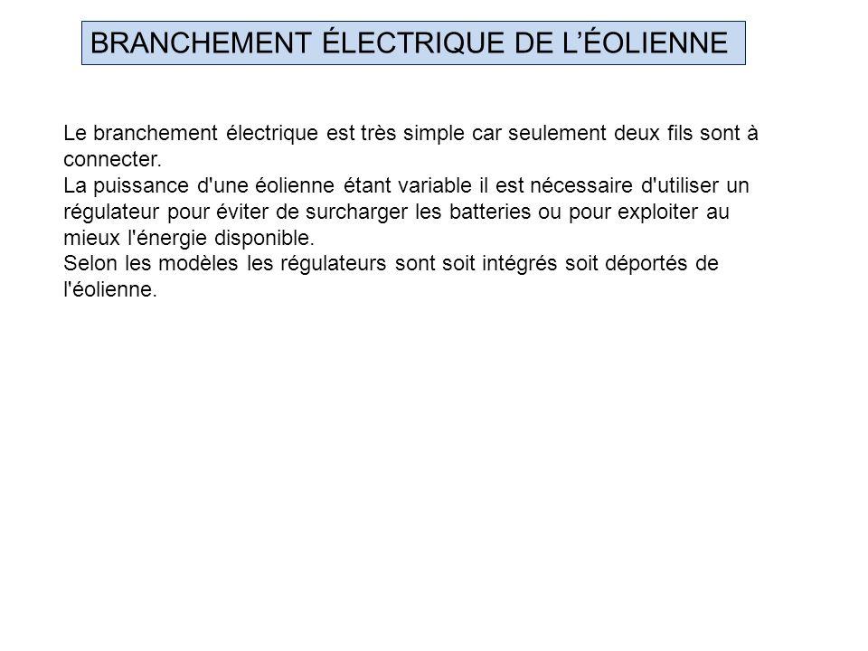 BRANCHEMENT ÉLECTRIQUE DE LÉOLIENNE Le branchement électrique est très simple car seulement deux fils sont à connecter. La puissance d'une éolienne ét