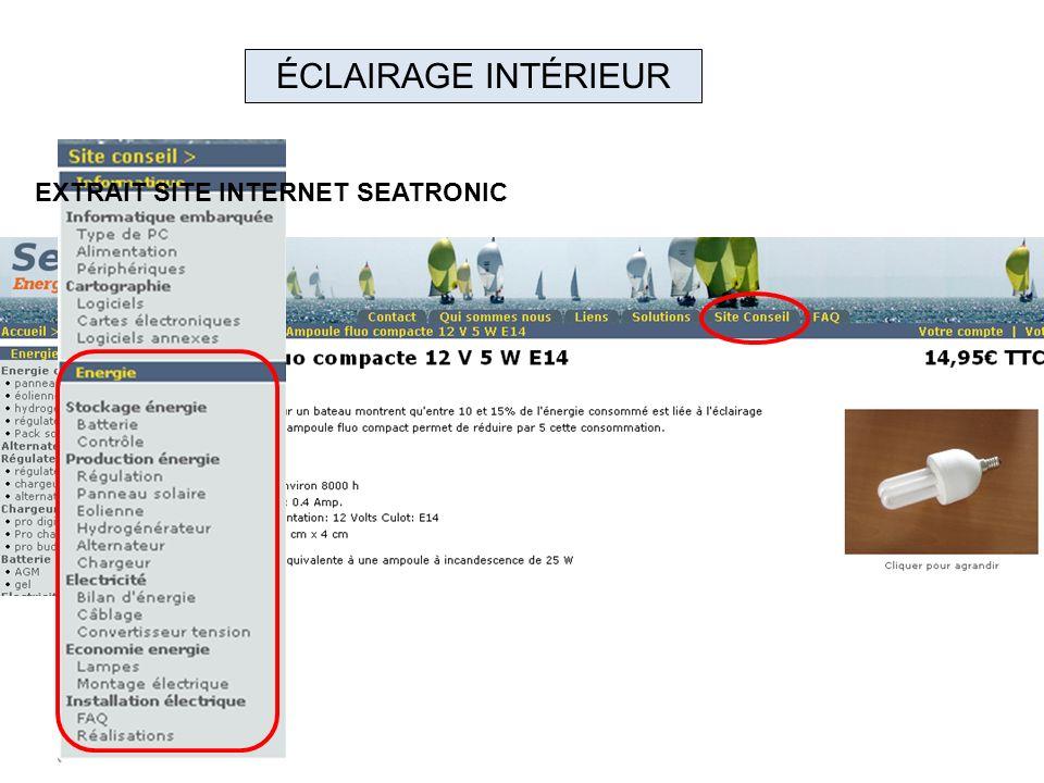 ÉCLAIRAGE INTÉRIEUR EXTRAIT SITE INTERNET SEATRONIC