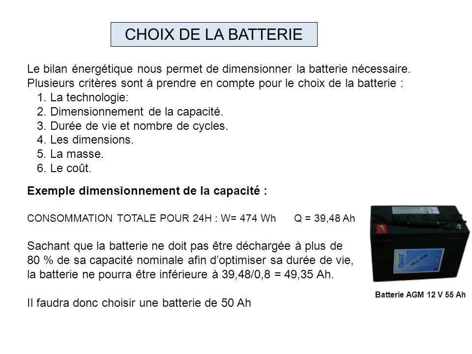 Le bilan énergétique nous permet de dimensionner la batterie nécessaire. Plusieurs critères sont à prendre en compte pour le choix de la batterie : 1.