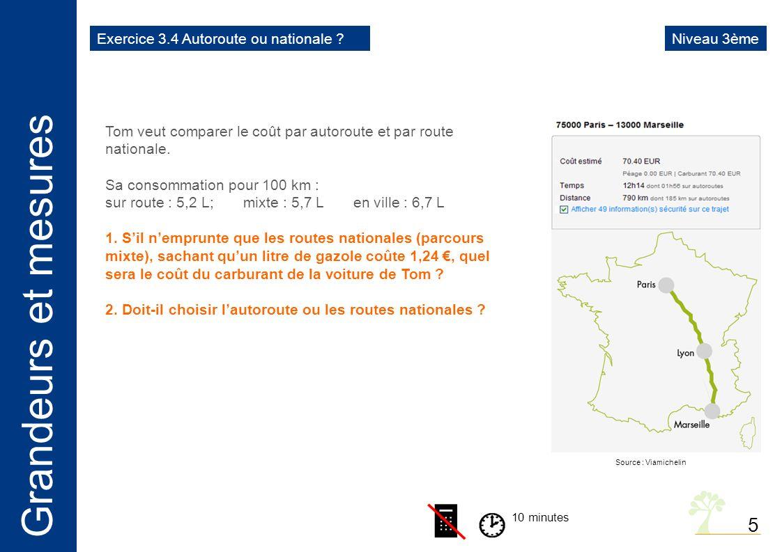 Grandeurs et mesures 5 10 minutes Tom veut comparer le coût par autoroute et par route nationale.