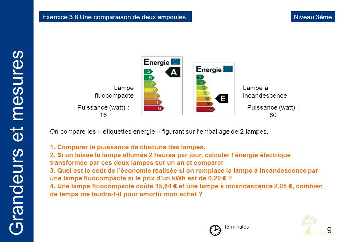 Grandeurs et mesures 9 15 minutes On compare les « étiquettes énergie » figurant sur lemballage de 2 lampes.