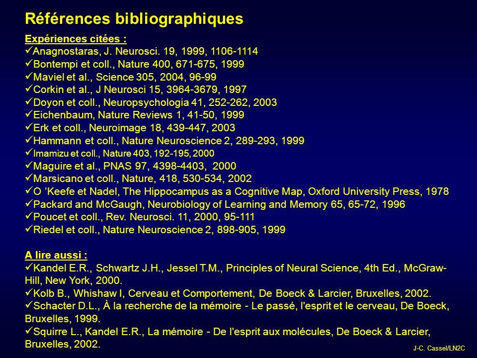 J-C.Cassel/LN2C Références bibliographiques Expériences citées : Anagnostaras, J.