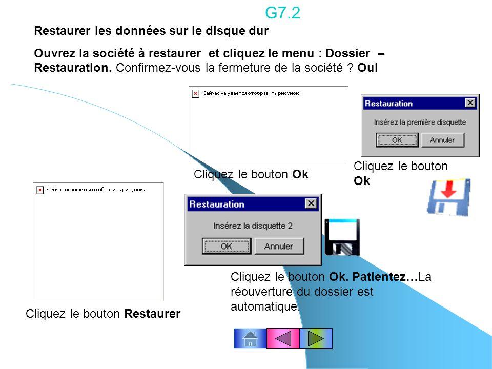G7.1 Confirmez-vous la fermeture de la société ? Oui Cliquez le bouton Ok Sauvegarder les données sur disquettes ( 2 disquettes sont nécessaires pour