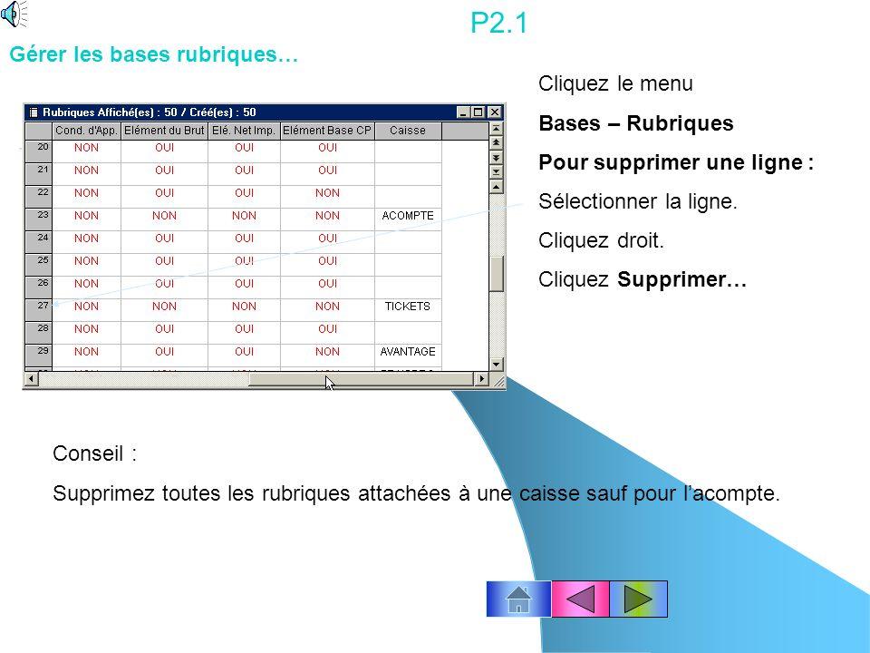 P1.11 Cliquez le menu Dossier – Paramètres globaux Modifiez les paramètres globaux pour lannée N.