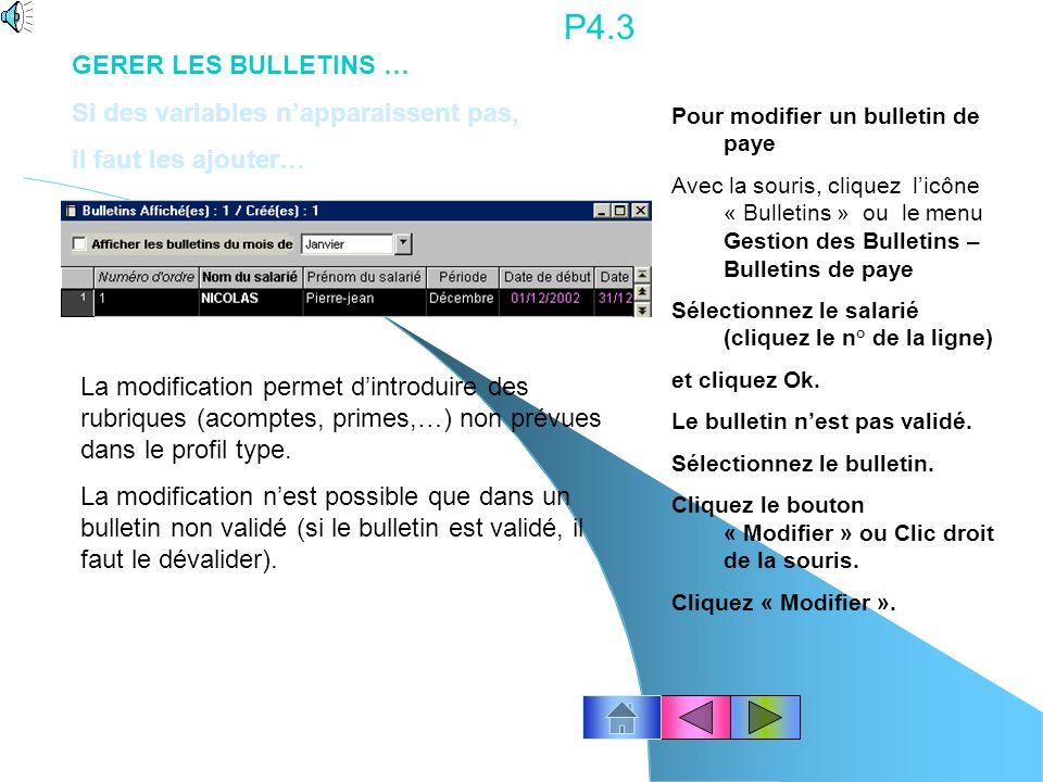 P4.2 Le bulletin saffiche à lécran.
