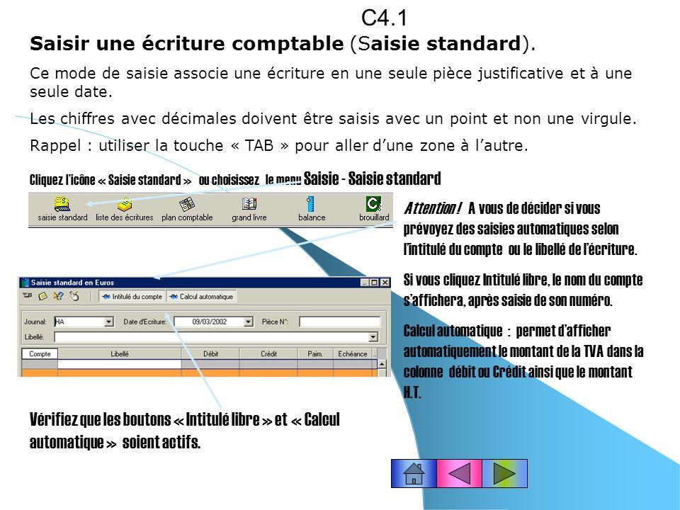 IMPRIMER LE PLAN COMPTABLE PARTIEL Ex : nous désirons obtenir la liste des comptes fournisseurs uniquement. Suite… C3.8 Cliquez le bouton « Imprimer »