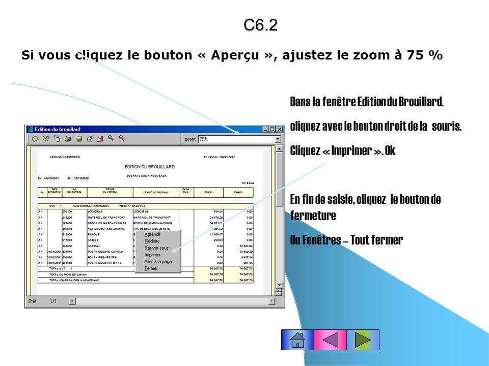 IMPRIMER UN BROUILLARD (traitements mensuels) Cliquez dans la barre doutils « Compta » le bouton « Brouillard » ou choisissez le menu États – Brouilla
