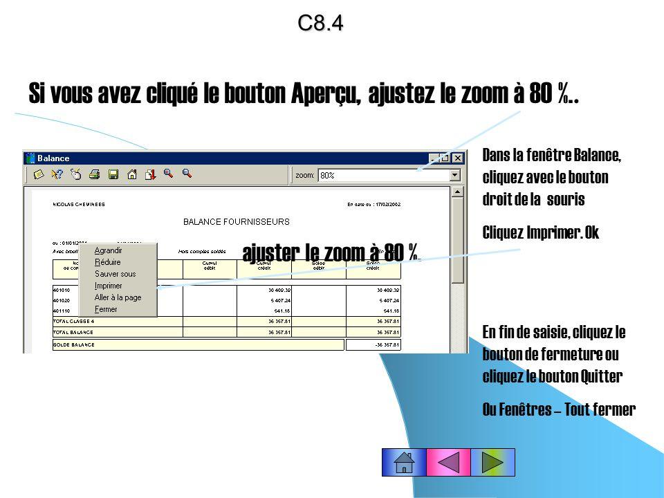Editer la balance des clients ou des fournisseurs Cliquez dans la barre doutils « Compta » le bouton « Edition de la balance » ou choisissez le menu É