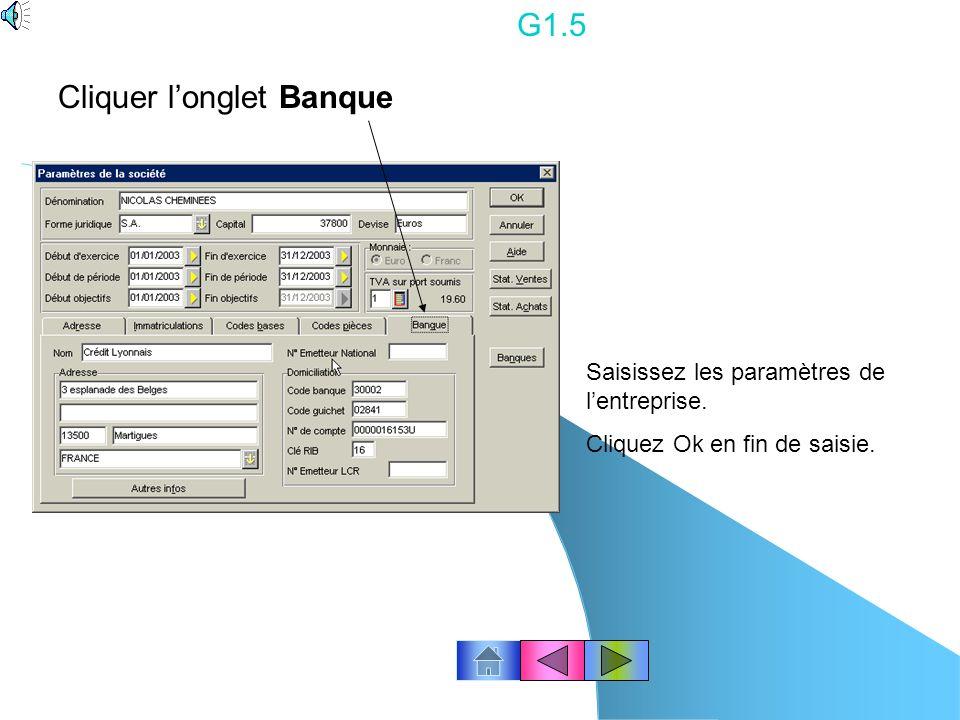 G1.4 Cliquez l onglet codes Bases : ne pas modifier.